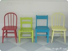Mismatched chairs in bright colors make a perfect set