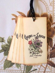 Tags Paris Flowers Fleurs Parfume Gift Tags Favor by bljgraves, $4.00
