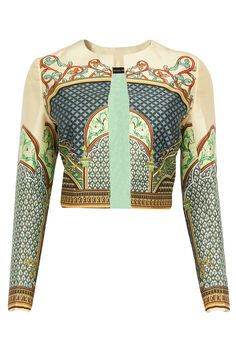 PANKAJ AND NIDHI Lyra printed short jacket Product Code - PNC2T0414LYR Price - $ 490   Description Featuring a multicolour front open short jacket in dupion silk with print all over.  COMPOSITION: Dupion silk. Lining: Silk satin.  CARE: Dryclean only.