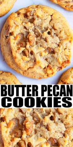 Easy, soft and chewy butter pecan cookies recipe, homemade with simple ingredients. Loaded with toasted pecans. Great for Christmas and Thanksgiving! Pecan Cookie Recipes, Butter Pecan Cookies, Cookie Desserts, Yummy Cookies, Just Desserts, Baking Recipes, Toffee Cookies, Chewy Pecan Supreme Cookies Recipe, Butter Toffee Pecans Recipe