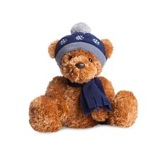 Wagner Brown Bear with Blue Fleece Hat & Scarf 11'' by Aurora (toy03231)