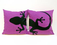 Black cat pillow covers 16 x 16 inches by ItsTimeToDream on Etsy