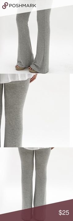 """🎀🆕Gray Flare Pants🎀 These comfortable gray pants are great for everyday wear or even to the gym. They're 95% rayon and 4% spandex with a 27"""" inseam. Pants"""