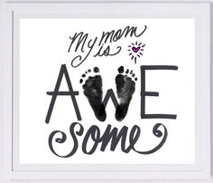Mother's Day Footprint Art your child's actual by MyForeverPrints, $30.00