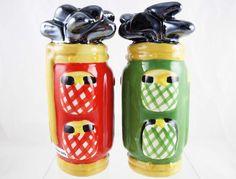 19th Hole Golf Bag Salt & Pepper Shaker Set - Red and Green - Clay Art - NIB #ClayArt