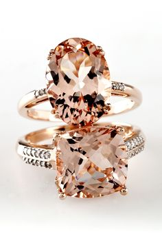 Morganite and Diamond Rose Gold Rings l We have a crush on this beautiful blush color stone. I love the way morganite looks! So pretty! Jewelry Rings, Jewelry Accessories, Fine Jewelry, Gold Jewelry, Jewlery, Jewelry Making, Bijoux Or Rose, Do It Yourself Jewelry, Alternative Engagement Rings