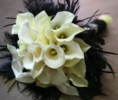 black and white wedding flowers, white calla lily