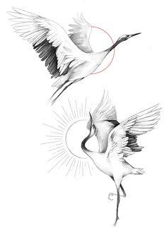 Back Tattoos, Mini Tattoos, Future Tattoos, Body Art Tattoos, Small Tattoos, Sleeve Tattoos, Lotusblume Tattoo, Crane Tattoo, Bird Drawings