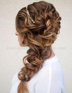 braided wedding hairstyle Wedding Hairstyles For Long Hair, Fancy Hairstyles, Wedding Hair And Makeup, Hair Makeup, Bridesmaids Hairstyles, Amazing Hairstyles, Side Hairstyles, Hairstyles 2016, Bridal Hairstyles