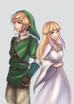 Link and Zelda (Goddess Hylia's reincarnation) - The Legend of Zelda: Skyward Sword