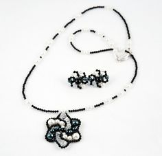 Black and White Jewelry Set by LLDArtisticJewelry on Etsy, $50.00