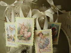 Easter glitter ornaments tags postcards glittered by PaperAndMache on Etsy, $8.50