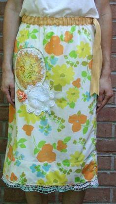 Vintage pillowcase/ sheet skirt