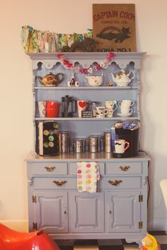 Coffee and tea bar hutch.