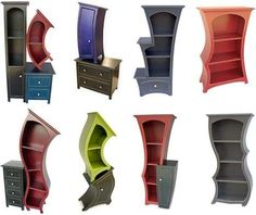 There's always ways to make reading activity even more fun Surreal Storage: Curved Cabinets, Dressers & Bookcases Funky Furniture, Design Furniture, Unique Furniture, Furniture Storage, Furniture Dolly, Furniture Outlet, Colorful Furniture, Wooden Furniture, Discount Furniture