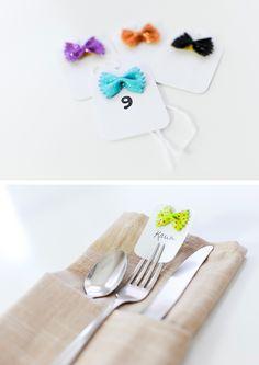Bow pasta escort cards