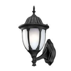 Acclaim Lighting Suffolk 18.25-in H Matte Black Outdoor Wall Light $90 Suffolk 18.25-in H Matte Black Outdoor Wall Light  Dusk-to-dawn photocell control included Wet location installation Eco-friendly Energy saving 18-watt spiral-shape GU24-base compact fluorescent light bulb, included
