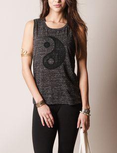 Yin Yang Muscle Tank - charcoal marble #sivanawishes