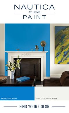 Paint Color Tip   Add small pops of bright color for an element of fun! A contrasting bright paint color will highlight white fireplaces and mantles, allowing these architectural features to standout. Add a pop of color to your space with Nautica At Home paint, designed to bring vibrant color & style into your home with our specially formulated paint + primer in one. Find these paint colors and more collections by Nautica at Home at http://www.nauticapaint.com/Color/