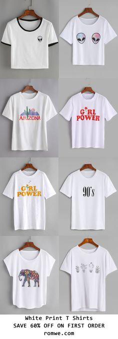 White Printed T shirts 2017 - romwe.com