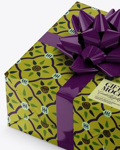 Matte Gift Box with Glossy Bow Mockup Close-Up