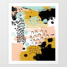 Buy Ames - Abstract painting in free style with modern colors navy gold blush white mint Art Print by CharlotteWinter. Worldwide shipping available at Society6.com. Just one of millions of high quality products available.
