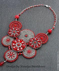 Necklaces, handmade beads.  Necklace RED MOON.  Snezhkova Natalya Natalya Snezhkova.  Shop Online Fair Masters.  Maroon