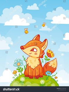 Cute fox sitting on a hill with flowers in cartoon style. Blue sky with clouds. Vector illustration for children for cards and decoration.