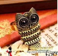 Antique Brass Cute Owl Ring Adjustable MB068 by moonboat on Etsy