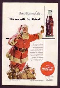 1950's Vintage Coca-Cola Santa Christmas