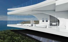 'Mahina' is a a proposed for a dream house.This modern residential architecture with its totally white interior and exterior looks sumptuous, creating a Architecture Cool, Modern Residential Architecture, Futuristic Home, Ocean House, Beach House, Luxury Homes Dream Houses, Dream Homes, Amazing Buildings, Auckland