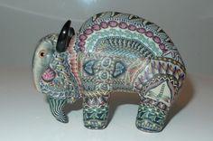 "Jon Anderson Fimo Polymer Clay Art Baby 3"" Buffalo Figurine 2005   eBay"
