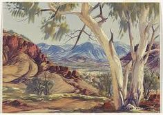 The Western MacDonnell Range, Central Australia by Albert Namatjira Aboriginal History, Aboriginal Artwork, Aboriginal Artists, Aboriginal Culture, Indigenous Australian Art, Indigenous Art, Australian Artists, Watercolor Landscape, Landscape Paintings