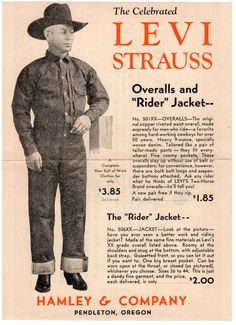 """Levi Strauss The """"Rider"""" Jacket Jacket Vintage Jeans, Vintage Outfits, Vintage Clothing, Vintage Fashion, Bicicletas Raleigh, Riders Jacket, The Lone Ranger, Art Graphique, Old Ads"""
