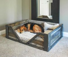 Easy Beautiful DIY Wooden Dog Bed  Make this using a crib mattress!