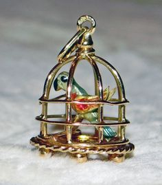 18k 18ct solid yellow gold enamel antique French parrot cage charm pendant bright bird 1800s fully hallmarked 3D figural heirloom OFFERS ok