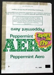 Peppermint Aero bar wrapper from 1981 Old Sweets, Vintage Sweets, Vintage Candy, Cadbury Chocolate Bars, Toffee Crisp, Crisp Recipe, Bar Wrappers, English Food, My Childhood Memories