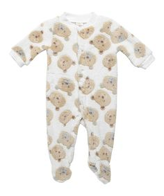 Another great find on #zulily! Ivory & Brown Bear Footie - Infant #zulilyfinds