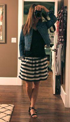 Denim jacket, black shirt, cute black and white skirt, black flats
