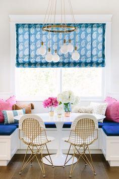 Glamour Nest Interior Design   Pink and Navy Kitchen Nook   Pink and Navy Breakfast Nook   #ShopStyle #MyShopStyle #kitchennookstyle #kitchennookdesign #kitchennook #breakfastnook #breakfastnookdesign #navyandpinkkitchennook