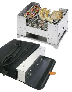 Esbit Fold-away BBQ-Box  Tote one of these fold-away, stainless charcoal summer barbecue grills from Esbit and you'll never have to hang out in some sketchy public park trying to get your fresh grilled burger on when you're away on a roadtrip.