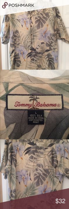 Tommy Bahama men's shirt Gently used 100% silk men's button down shirt tropical print with coconut buttons Tommy Bahama Shirts Casual Button Down Shirts