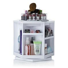 Plastic makeup organizer cosmetic storage box organizador de maquiagem 360 degree rotation carboard white color