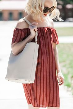 Poor Little It Girl - Stripe Off The Shoulder Red Dress - /poorlilitgirl/