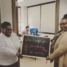 Riva & Jamie are #thankful for Jamies cakes (they are delish) Frenzy Fridays (Friday morning #dance parties for #motivation) & Rivas wild side (needs no explanation). They insisted Matt be in the pic. Swipe left for his #thankful board.  #trusttheprocess #sixers #weekofthanks #buildingculture