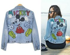 MICKEY MOUSE JACKET jeans denim jacket with patches by DSMjeans