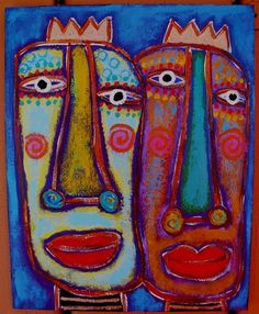"""""""Unprotested Royals"""" 8x10 acrylic on wood panel....hurry, go get your crowns and put 'em on your heads!"""
