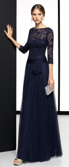 Exquisite Lace & Tulle Bateau Neckline 3/4 Length Sleeves A-line Evening Dress With Pleats