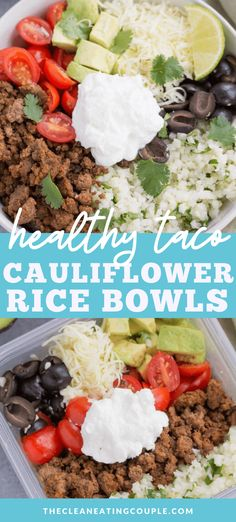 Taco Cauliflower Rice Bowls are a delicious low carb keto lunch or dinner! Naturally gluten free and perfect for meal prepping these taco bowls are packed with flavor! Healthy Beef Recipes, Healthy Tacos, Healthy Meal Prep, Healthy Eating, Lunch Recipes, Keto Recipes, Fast Recipes, Healthy Lunches, Healthy Food