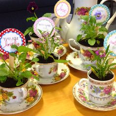 Mothers day crafts. After the Mother Daughter tea, they could plant a flower in their tea cups and take them home as a party favor. - Our Secret Crafts